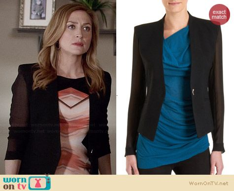 Helmut Lang Sheer Sleeve Blazer worn by Sasha Alexander on Rizzoli & Isles