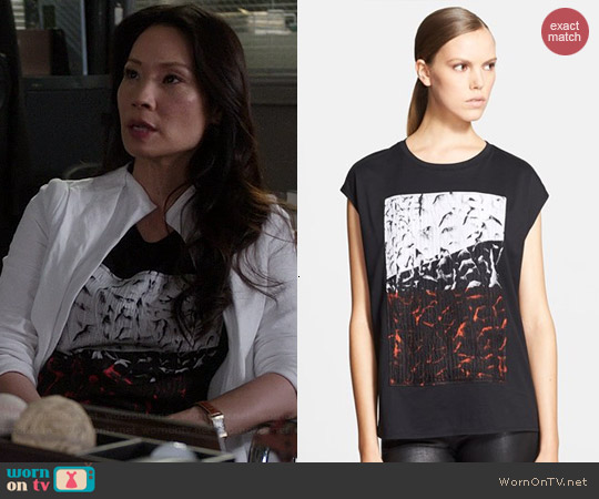 Helmut Lang Pact Textured Graphic Applique Tee worn by Lucy Liu on Elementary