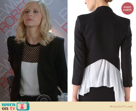 Helmut Lang Smoking Tux Blazer worn by Sarah Michelle Gellar on The Crazy Ones