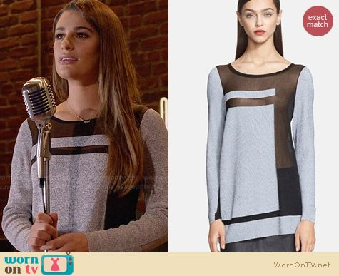 Helmut Lang Static Transfer Sweater worn by Lea Michele on Glee