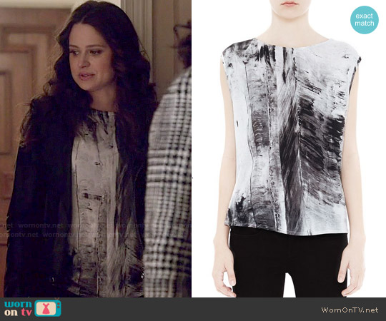 Helmut Lang Tidal Print Top worn by Katie Lowes on Scandal