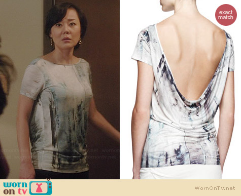 Helmut Lang Tidal Printed Cowl Back Top worn by Yunjin Kim on Mistresses