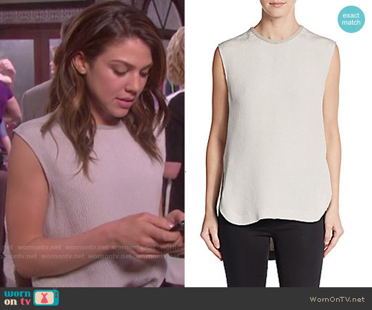 Helmut Lang Tissue Silk Leather Trim Tunic Top worn by Marci Miller on Days of our Lives