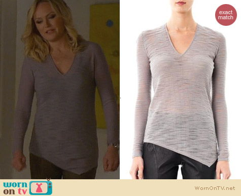 Helmut Lang V-Neck Slub Sweater worn by Malin Akerman on Trophy Wife