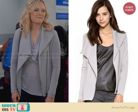 Helmut Lang Villous Zip Sweatshirt worn by Malin Akerman on Trophy Wife