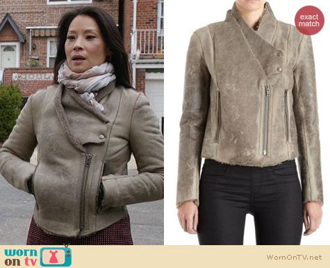 Helmut Lang Weathered Shearling Jacket worn by Lucy Liu on Elementary