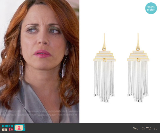 Henri Bendel Thompson Street Fringe Chandelier Earrings worn by Alanna Ubach on GG2D
