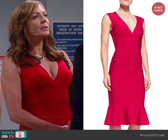 Herve Leger Camillia Flare-Hem Bandage Dress worn by Allison Janney on Mom
