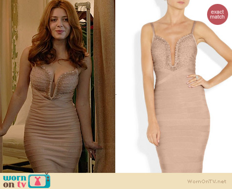 Herve Leger Embellished Bandage Gown worn by Elena Satine on Revenge