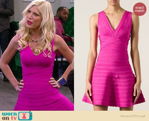 Herve Leger Pink Flared Bandage Dress worn by Tori Spelling on Mystery Girls