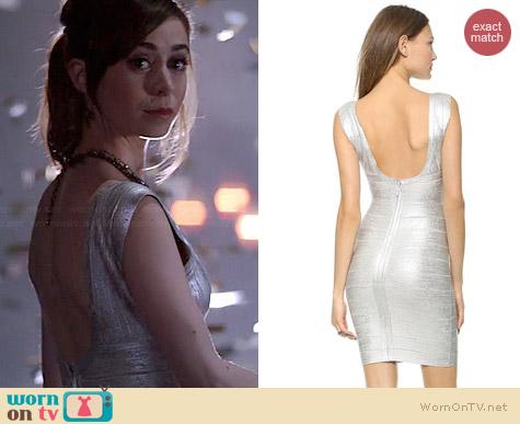 Herve Leger Foil V-neck Dress worn by Cristin Milioti on A to Z