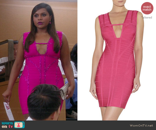 Herve Leger Kane Novelty Dress in Fuchsia worn by Mindy Kaling on The Mindy Project
