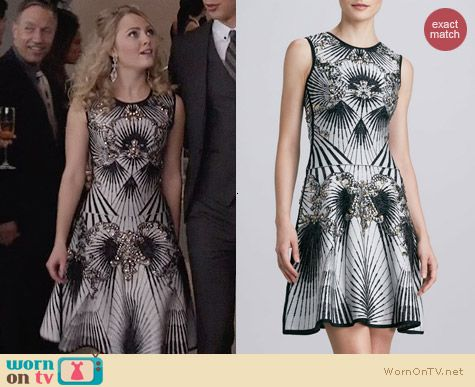 Herve Leger Beaded Printed Bandage Dress worn by AnnaSophia Robb on The Carrie Diaries