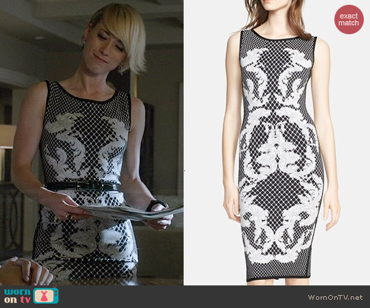 Herve Leger Baroque Printed Jacquard Knit Dress worn by