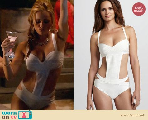 Herve Leger Side Cutout One Piece Bandage Swimsuit worn by Natalie Hall on Star-Crossed