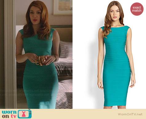 Herve Leger Turquoise Bateau Neck Bandage Dress worn by Elena Satine on Revenge
