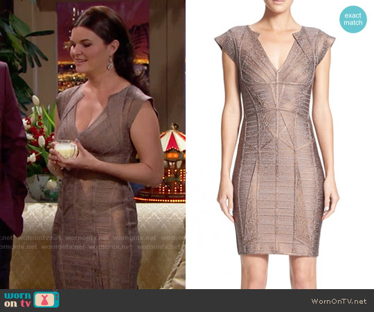 Herve Leger Woodgrain Metallic Foil Bandage Dress worn by Heather Tom on The Bold & the Beautiful