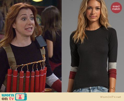 HIMYM Fashion: Autumn Cashmere Tissue Cashmere Sweater with Colorblock Sleeves worn by Alyson Hannigan