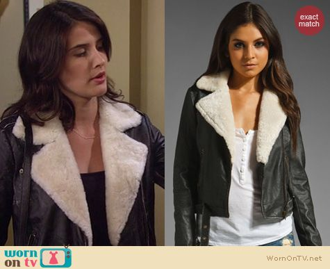 HIMYM Fashion: Current/Elliot The Shearling Leather biker Jacket worn by Cobie Smulders