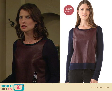 How I Met Your Mother Fashion: Elizabeth and James high low leather sweater worn by Cobie Smulders