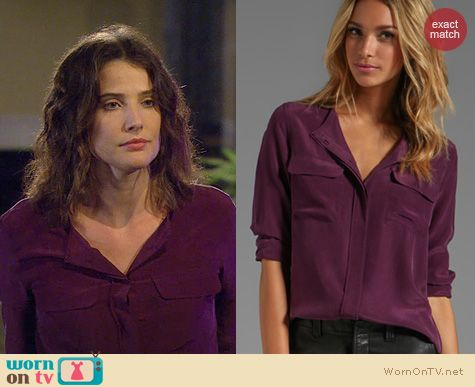 Fashion of HIMYM: Equipment Lynn blouse in wine worn by Cobie Smulders