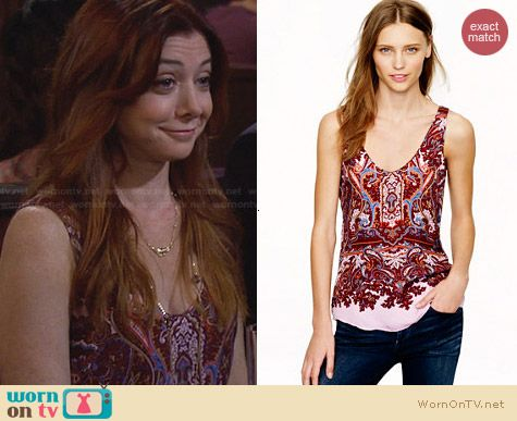 Fashion of HIMYM: J. Crew Cate Cami in Iced Lilac Paisley worn by Allyson Hannigan