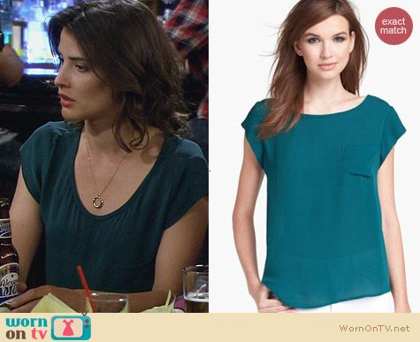 Fashion of HIMYM: Joie Rancher Blouse in Green worn by Cobie Smulders