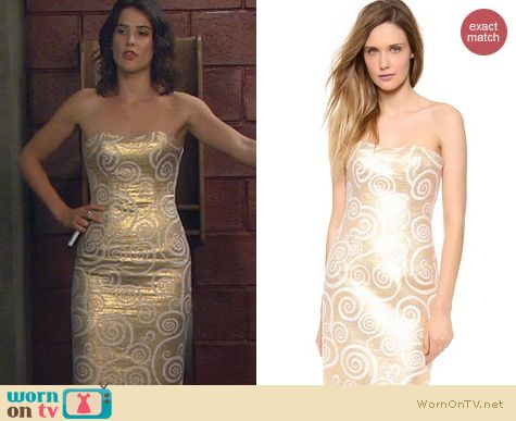 HIMYM Fashion: L'Wren Scott Strapless Detailed Dress worn by Cobie Smulders