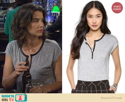 HIMYM Fashion: Madewell Leather Trimmed Henley Tee worn by Cobie Smulders
