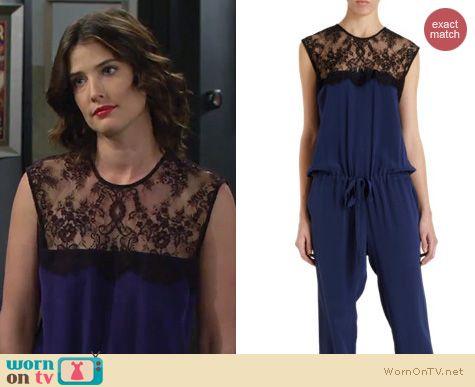 HIMYM Fashion: Mason by Michelle Mason blue lace jumpsuit worn by Cobie Smulders