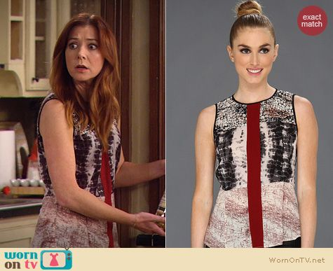HIMYM FAshion: Patterson J Kincaid Mixed print rally tank worn by Alyson Hannigan