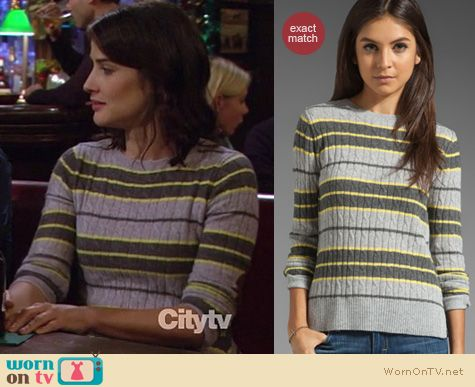Robin Scherbatsky Fashion: Autumn Cashmere stripe sweater worn by Cobie Smulders