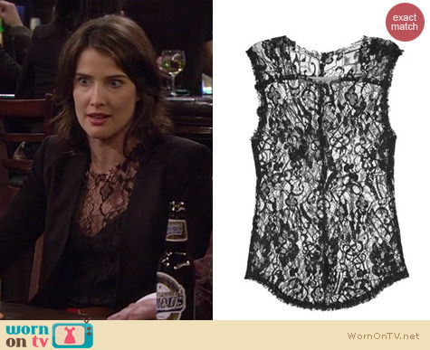 Robin Scherbatsky Fashion: Raquel Allegra black lace overlay top worn by Cobie Smulders