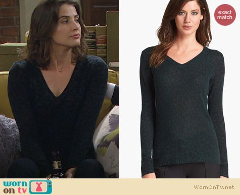 HIMYM Fashion: White + Warren Cashmere Sweater in Green Leopard Print worn by Cobie Smulders