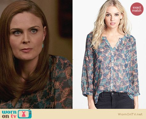 Hinge Floral print peasant top worn by Emily Deschanel on Bones