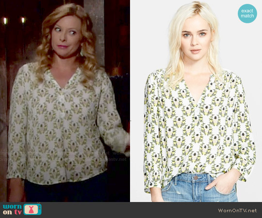Hinge Henley Top in White Snow Pineapple Floral worn by Cady McClain on The Young & the Restless
