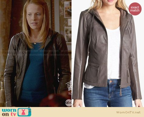 Hinge Hooded Leather Jacket worn by Katie Leclerc on Switched at Birth