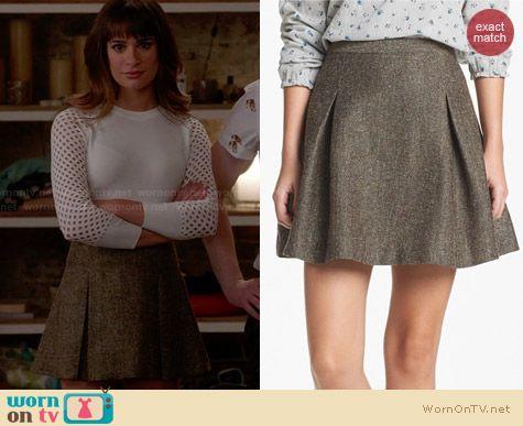 Hinge Metallic Tweed Skater Skirt worn by Lea Michele on Glee