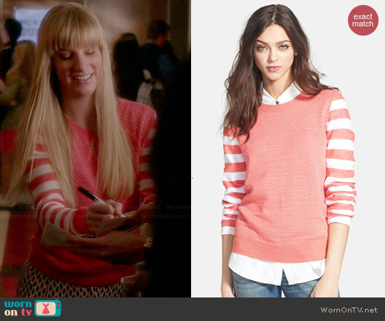 Hinge Mixed Pattern Knit Sweater worn by Heather Morris on Glee