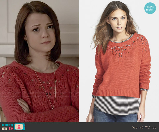 Hinge Pointelle Yoke Crop Sweater in Red Apple worn by Kathryn Prescott on Finding Carter