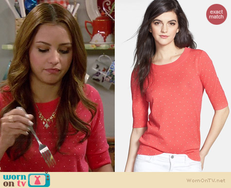 Hinge Polka Dot Half Sleeve Sweater worn by Aimee Carrero on Young & Hungry