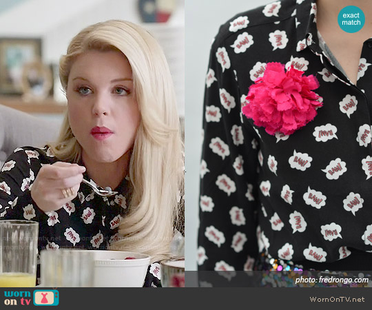 H&M Bam Print Shirt worn by Bailey Buntain on Faking It