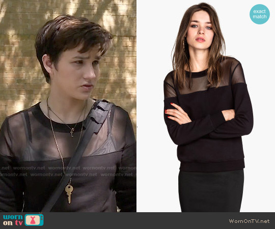 H&M Sweatshirt with Mesh Yoke worn by Bex Taylor-Klaus on Scream