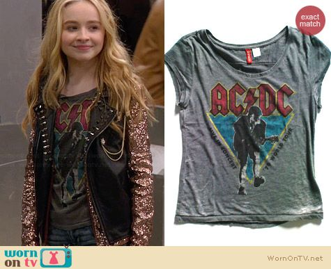 H&M AC/DC Tee worn by Sabrina Carpenter on Girl Meets World