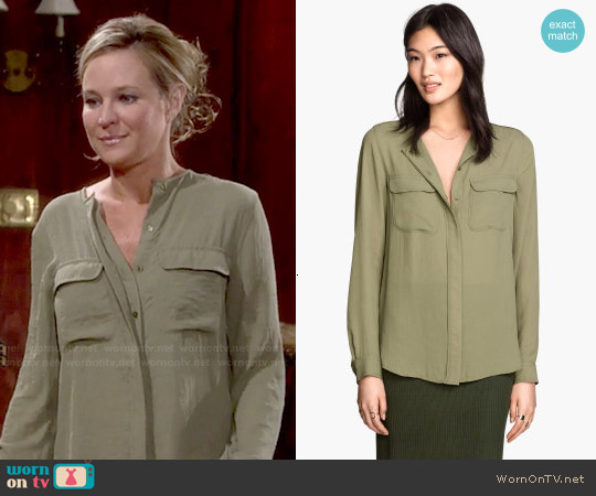 H&M Airy Blouse in Khaki Green worn by Sharon Case on The Young & the Restless