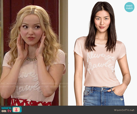 H&M Sequined Top in Powder worn by Dove Cameron on Liv & Maddie