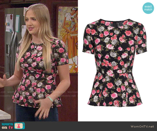 H&M Black Floral Peplum Top worn by Veronica Dunne on KC Undercover