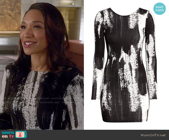 H&M Black and White Patterned Dress worn by Candice Patton on The Flash