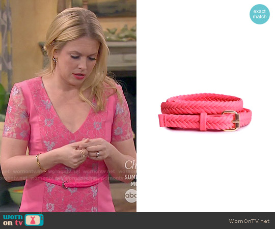 H&M Braided Pink Belt worn by Melissa Joan Hart on Melissa & Joey