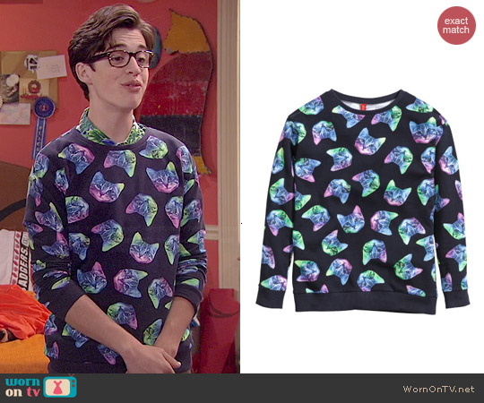 H&M Cat Sweatshirt worn by Joey Bragg on Liv & Maddie